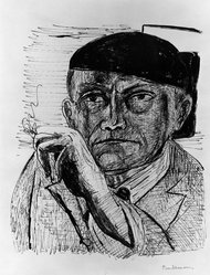 Max Beckmann (German, 1884-1950). Self-Portrait (Selbstbildnis), 1946. Lithograph on wove paper, Image: 12 5/8 x 10 1/2 in. (32.1 x 26.7 cm). Brooklyn Museum, Gift of Curt Valentin, 49.206.1. © artist or artist's estate