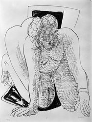 Max Beckmann (German, 1884-1950). Crawling Woman (Kriechende Frau), 1946. Lithograph on wove paper, Image: 14 1/4 x 11 5/8 in. (36.2 x 29.5 cm). Brooklyn Museum, Gift of Curt Valentin, 49.206.5. © artist or artist's estate