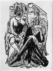 Max Beckmann (German, 1884-1950). King and Demagogue (König und Demagoge), 1946. Lithograph on wove paper, Image: 14 7/8 x 10 1/4 in. (37.8 x 26 cm). Brooklyn Museum, Gift of Curt Valentin, 49.206.8. © artist or artist's estate
