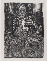 Ivan le Lorraine Albright (American, 1897-1983). Self-Portrait, 1948. Lithograph on paper, 14 3/8 x 10 3/16 in. (36.5 x 25.8 cm). Brooklyn Museum, 49.70. © artist or artist's estate