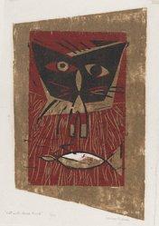 Leona Pierce (American, 1922-2002). Cat with Dead Bird, 1949. Woodcut on paper, 9 1/2 x 6 in. (24.2 x 15.2 cm). Brooklyn Museum, 49.78. © artist or artist's estate
