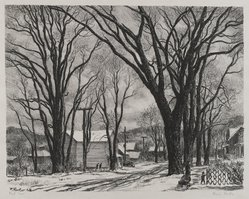 Fermin Rocker (American, born 1907). First Snow, 1948. Lithograph on heavy wove paper, Sheet: 14 x 16 7/8 in. (35.6 x 42.9 cm). Brooklyn Museum, 49.82. © artist or artist's estate