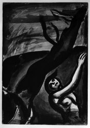 Georges Rouault (French, 1871-1958). Demain Sera Beau Disait le Naufragé., 1922. Etching, aquatint, and heliogravure on laid Arches paper, 19 7/8 x 13 15/16 in. (50.5 x 35.4 cm). Brooklyn Museum, Frank L. Babbott Fund, 50.15.11. © artist or artist's estate