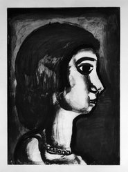 Georges Rouault (French, 1871-1958). Fille Dite de Joie., 1922. Etching, aquatint, and heliogravure on laid Arches paper, 20 1/16 x 14 7/16 in. (51 x 36.7 cm). Brooklyn Museum, Frank L. Babbott Fund, 50.15.14. © artist or artist's estate