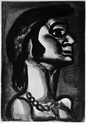 Georges Rouault (French, 1871-1958). En Bouche qui Fut FraÎche, Goût de Fiel., 1922. Etching, aquatint, and heliogravure on laid Arches paper, 19 13/16 x 13 3/4 in. (50.3 x 35 cm). Brooklyn Museum, Frank L. Babbott Fund, 50.15.15. © artist or artist's estate