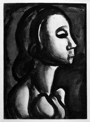 Georges Rouault (French, 1871-1958). Dame du Haut-Quartier Croit Prendre Pour le Ciel Place Réservée., 1922. Etching, aquatint, and heliogravure on laid Arches paper, 22 7/16 x 16 5/16 in. (57 x 41.4 cm). Brooklyn Museum, Frank L. Babbott Fund, 50.15.16. © artist or artist's estate
