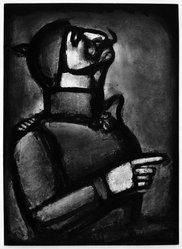 """Georges Rouault (French, 1871-1958). """"Plus le Coeur est Noble, Moins le Col est Roide.,"""" 1927. Etching, aquatint, and heliogravure on laid Arches paper, 22 15/16 x 16 5/8 in. (58.3 x 42.3 cm). Brooklyn Museum, Frank L. Babbott Fund, 50.15.49. © artist or artist's estate"""
