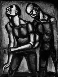 Georges Rouault (French, 1871-1958). L'Aveugle Parfois Consolé le Voyant., 1926. Etching, aquatint, and heliogravure on laid Arches paper, 22 15/16 x 17 1/16 in. (58.3 x 43.4 cm). Brooklyn Museum, Frank L. Babbott Fund, 50.15.55. © artist or artist's estate