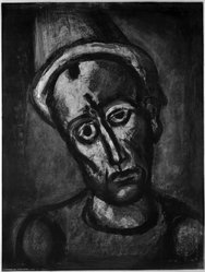 Georges Rouault (French, 1871-1958). Qui ne se Grime Pas?, 1922. Etching, aquatint, and heliogravure on laid Arches paper, 22 5/16 x 16 7/8 in. (56.6 x 42.9 cm). Brooklyn Museum, Frank L. Babbott Fund, 50.15.8. © artist or artist's estate