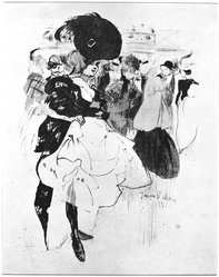 Jacques Villon (French, 1875-1963). Dancer at Moulin Rouge, 1899. Lithograph on heavy Japan paper, 8 3/8 x 11 7/16 in. (21.2 x 29 cm). Brooklyn Museum, Frederick Loeser Fund, 50.164.1. © artist or artist's estate