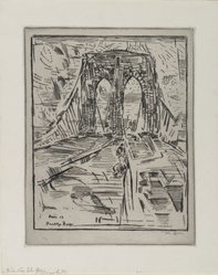 John Marin (American, 1870-1953). Brooklyn Bridge, 1913. Drypoint and etching on wove paper, Sheet: 14 x 11 1/8 in. (35.6 x 28.3 cm). Brooklyn Museum, Dick S. Ramsay Fund, 50.166.2. © artist or artist's estate