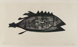Arthur Deshaies (American, born 1920). The Fish, 1949. Engraving and etching on wove paper, 11 1/4 x 4 3/4 in. (28.6 x 12.1 cm). Brooklyn Museum, 50.22. © artist or artist's estate