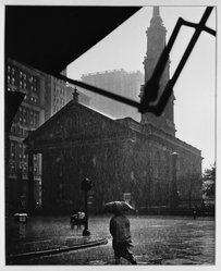 Paul Weller (American, 1912-2000). Lower Broadway on a Rainy Day, N. Y., early 20th-mid 20th century. Chlorobromide print Brooklyn Museum, Gift of the artist, 50.49.2. © artist or artist's estate