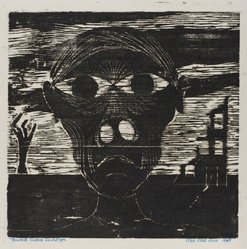 Paul Peter Piech (American, 1920-1996). Twentieth - Century Landscape, 1949. Woodcut on paper, sheet: 16 5/8 x 14 3/16 in. (42.2 x 36 cm). Brooklyn Museum, Gift of the artist, 51.152.2. © artist or artist's estate