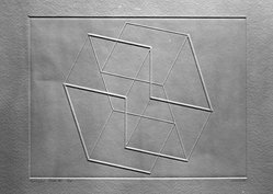 Josef Albers (American, 1888-1976). Solo V., 1958. Inkless intaglio on wove paper, Plate: 6 5/8 x 8 11/16 in. (16.8 x 22 cm). Brooklyn Museum, A. Augustus Healy Fund, 51.56.6. © artist or artist's estate