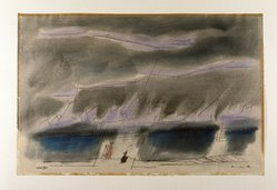 Lyonel Feininger (American, 1871-1956). Jagged Clouds, I, 1950. Watercolor and pen and ink on cream colored paper, Sheet: 12 7/16 x 18 7/8 in. (31.6 x 48 cm). Brooklyn Museum, Carll H. de Silver Fund, 51.90. © artist or artist's estate