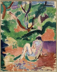 Henri Matisse (French, 1869-1954). Nude in a Wood (Nu dans la forêt; Nu assis dans le bois), 1906. Oil on board mounted on panel, 16 x 12 3/4 in. (40.6 x 32.4 cm). Brooklyn Museum, Gift of George F. Of, 52.150. © artist or artist's estate