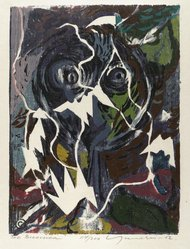 Adja Yunkers (American, born Latvia, 1900-1983). The Bird Lover, 1952. Woodcut on paper, 14 3/4 x 11 in. (37.5 x 28 cm). Brooklyn Museum, Dick S. Ramsay Fund, 53.14.1. © artist or artist's estate