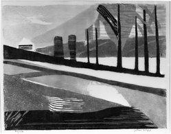John Wipp (Swedish, 1927-2005). Street, 20th century. Linocut on paper, 10 3/4 x 14 in. (27.3 x 35.5 cm). Brooklyn Museum, A. Augustus Healy Fund, 53.168.16. © artist or artist's estate