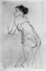 Marcello Muccini (Italian, 1926-1978). Standing Woman Holding Wine Glass, 1947. Drypoint on heavy wove paper, 9 13/16 x 6 in. (25 x 15.2 cm). Brooklyn Museum, A. Augustus Healy Fund, 53.168.28. © artist or artist's estate