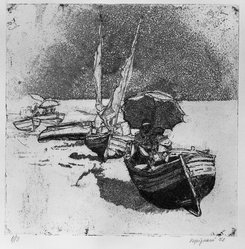Renzo Vespignani (Italian, 1924-2001). Boats, Sails and Umbrellas, 1952. Etching on heavy wove paper, 9 3/8 x 9 1/2 in. (23.8 x 24.2 cm). Brooklyn Museum, A. Augustus Healy Fund, 53.168.33. © artist or artist's estate