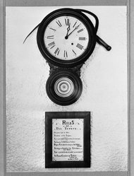 Arthur Rothstein (American, 1915-1985). Clock and Sign in Tavern, Smuggler's Notch, Vermont, September, 1937. Gelatin silver photograph, 13 3/8 x 9 7/8 in. (34 x 25.1 cm). Brooklyn Museum, Gift of the artist, 53.24.5b. © artist or artist's estate