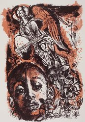 Fred Steffen. Why Are Angels Always White?, 1954. Lithograph, Sheet: 18 7/8 x 24 7/8 in. (47.9 x 63.2 cm). Brooklyn Museum, Gift of Artists Equity, Chicago Chapter, 54.153.2. © artist or artist's estate