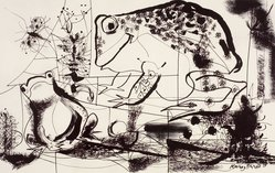 Rainey Bennett (American, 1907-1998). Two Frogs and a Bug, 1954. Lithograph, Sheet: 18 7/8 x 24 7/8 in. (47.9 x 63.2 cm). Brooklyn Museum, Gift of Artists Equity, Chicago Chapter, 54.153.3. © artist or artist's estate