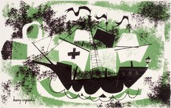 Harry Wysocki. Bottled Boat, 1954. Lithograph, Sheet: 18 7/8 x 24 7/8 in. (47.9 x 63.2 cm). Brooklyn Museum, Gift of Artists Equity, Chicago Chapter, 54.153.5. © artist or artist's estate