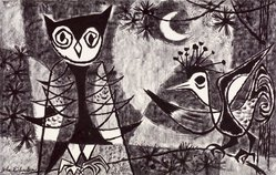 John Richardson. Night Birds, 1954. Lithograph, Sheet: 18 7/8 x 24 7/8 in. (47.9 x 63.2 cm). Brooklyn Museum, Gift of Artists Equity, Chicago Chapter, 54.153.6. © artist or artist's estate