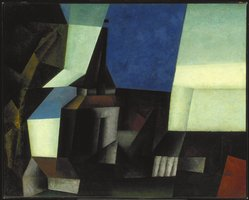Lyonel Feininger (American, 1871-1956). Zirchow V, 1916. Oil on canvas, 31 7/8 x 39 5/8 in. (81 x 100.6 cm). Brooklyn Museum, Gift of Mr. and Mrs. Otto Spaeth, by exchange and John B. Woodward Memorial Fund, 54.62. © artist or artist's estate