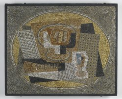 Gino Severini (Italian, 1883-1966). Still Life with Compotier, ca. 1949. Glazed earthenware, cement, original integral black painted wood frame, 32 3/4 x 27in. (83.2 x 68.6cm). Brooklyn Museum, Gift of the Italian Government, 54.65.1. © artist or artist's estate