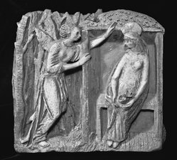 Ugo Lucerni. Annunciation. Terra Cotta, 17 x 18 1/2 x 4 1/4 in. (43.2 x 47 x 10.8 cm). Brooklyn Museum, Gift of the Italian Government, 54.65.2. © artist or artist's estate