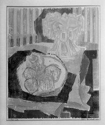 John Bernhardt (American, 1921-1963). Still-Life, 1953. Woodcut in color Brooklyn Museum, Dick S. Ramsay Fund, 54.95. © artist or artist's estate