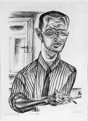 Conrad Felixmüller (German, 1897-1977). Selbstbild (Self Portrait), 1921. Lithograph on laid paper, Image: 17 x 12 in. (43.2 x 30.5 cm). Brooklyn Museum, Gift of Dr. F.H. Hirschland, 55.165.108. © artist or artist's estate
