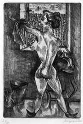Conrad Felixmüller (German, 1897-1977). Woman at Morning Ablutions. Etching on laid paper, 11 5/8 x 7 7/8 in. (29.5 x 20 cm). Brooklyn Museum, Gift of Dr. F.H. Hirschland, 55.165.13. © artist or artist's estate