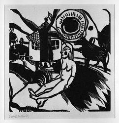 Heinrich Campendonk (German, 1889-1957). Seated Female Nude in Landscape with Farmhouse (Sitzender weiblicher Akt in Landschaft mit Bauernhaus), 1920-1921. Woodcut on laid paper, Image: 8 5/8 x 8 9/16 in. (21.9 x 21.7 cm). Brooklyn Museum, Gift of Dr. F.H. Hirschland, 55.165.15. © artist or artist's estate