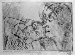 Conrad Felixmüller (German, 1897-1977). Mother and Child, 1918. Soft ground etching on wove paper, 7 x 10 in. (17.8 x 25.4 cm). Brooklyn Museum, Gift of Dr. F.H. Hirschland, 55.165.24. © artist or artist's estate