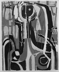 Richard Zoellner (American, 1908-2003). Face in the Mirror, 1954. Woodcut in color on Japan paper, Image: 24 1/2 x 20 1/16 in. (62.3 x 50.9 cm). Brooklyn Museum, Dick S. Ramsay Fund, 55.53. © artist or artist's estate
