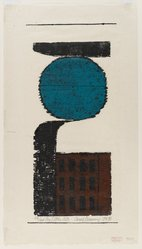 Carol Summers (American, born 1925). The Little City, 1954. Color woodcut on Japan paper, sheet: 20 x 11 1/8 in. (50.8 x 28.3 cm). Brooklyn Museum, Dick S. Ramsay Fund, 55.6.2. © artist or artist's estate
