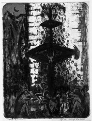 Max Kahn (American, 1904-2005). The Fountain, 1956. Lithograph, 25 9/16 x 19 5/16 in. (65 x 49 cm). Brooklyn Museum, Dick S. Ramsay Fund, 56.75. © artist or artist's estate
