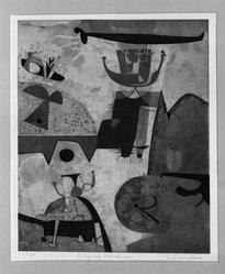 Leonard Edmondson (American, 1916-2002). Flying Machine, 1956. Etching, 9 3/8 x 7 7/8 in. (23.8 x 20 cm). Brooklyn Museum, Dick S. Ramsay Fund, 56.77. © artist or artist's estate