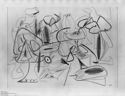 "Arshile Gorky (American, born Armenia, 1904-1948). Study for ""They Will Take My Island,"" 1944. Crayon on white wove paper, sheet: 22 x 30 in. (55.9 x 76.2 cm). Brooklyn Museum, Dick S. Ramsay Fund, 57.16. © artist or artist's estate"