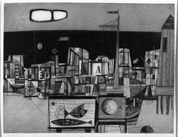 Rudolf Kugler (German, born 1921). Fisheries Station, 1957. Etching on wove paper, 25 3/8 x 19 3/8 in. (64.4 x 49.2 cm). Brooklyn Museum, Charles Stewart Smith Memorial Fund, 57.193.15. © artist or artist's estate