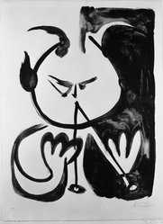 Pablo Picasso (Spanish, 1881-1973). Faun Musician No. 5, 1948. Lithograph on zinc printed on heavy wove paper, 27 3/16 x 19 11/16 in. (69 x 50 cm). Brooklyn Museum, Gift of Mr. and Mrs. Herbert M. Rothschild, 57.7.2. © artist or artist's estate