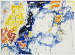 Sam Francis (American, 1923-1994). Yellow, Violet and White Forms, 1956. Watercolor on paper, 22 7/16 x 30 7/16 in. (57 x 77.3 cm). Brooklyn Museum, Dick S. Ramsay Fund, 57.70. © artist or artist's estate