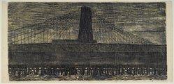 Antonio Frasconi (American, born Argentina, 1919-2013). The Storm - Brooklyn Bridge, 1952. Color woodcut on Japan paper, Image: 20 x 40 1/4 in. (50.8 x 102.2 cm). Brooklyn Museum, Dick S. Ramsay Fund, 58.11.1. © artist or artist's estate