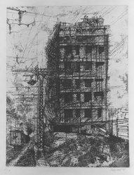 Renzo Vespignani (Italian, 1924-2001). Casa Sulla Ferrouia, 1957. Etching on wove paper, 15 13/16 x 12 3/16 in. (40.1 x 31 cm). Brooklyn Museum, Carll H. de Silver Fund, 58.165.19. © artist or artist's estate