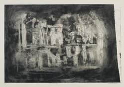 Louise Nevelson (American, born Russia, 1900-1988). The Shadow City, 1952-1954. Etching and drypoint on paper, sheet: 13 5/8 x 20 3/4 in. (34.6 x 52.7 cm). Brooklyn Museum, Dick S. Ramsay Fund, 58.44.2. © artist or artist's estate