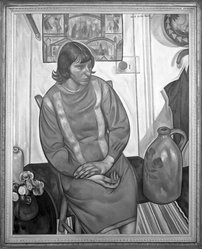 Jacob Getlar Smith (American, 1898-1958). The Artist's Wife, 1927. Oil on canvas, 57 1/2 x 47 1/4 in. (146.1 x 120 cm). Brooklyn Museum, Gift of Mrs. Jacob Getlar Smith, 60.48. © artist or artist's estate